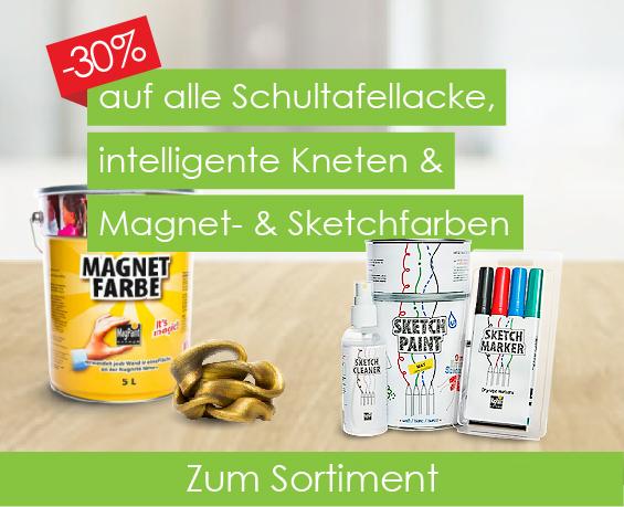 30% auf Schultafellacke, intelligente Knete & Maqgnet- & Sketchfarben