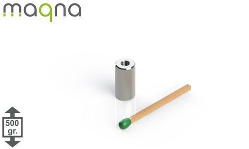 Topfmagnet m. Inneng. D=6 mm, H=4,5 mm, vernickelt, Grade N38, Gewinde M3 - Produktfoto