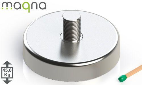 Topfmagnet mit Außengewinde, D=42 mm, H=9 mm, vernickelt, Grade N35, Gewinde M6 - Produktfoto