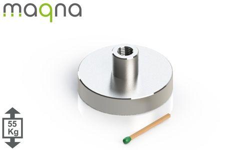 Topfmagnet m. Inneng.D=42 mm, H=9 mm, vernickelt, Grade N35, Gewinde M5 - Produktfoto