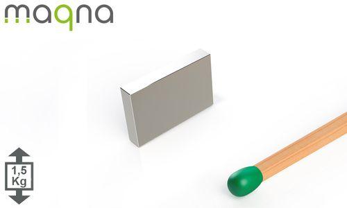 Neodym Quadermagnet, 12x8x2mm, vernickelt, Grade N50 - Produktfoto