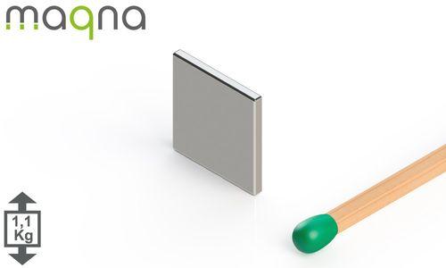 Neodym Quadermagnet, 10x10x1mm, vernickelt, Grade N45 - Produktfoto