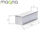 Neodym Quadermagnet, 15x15x8mm, vernickelt, Grade N42 003
