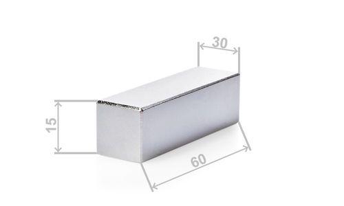 Neodym Quadermagnet, 60x30x15mm, vernickelt, Grade N42 - Produktfoto