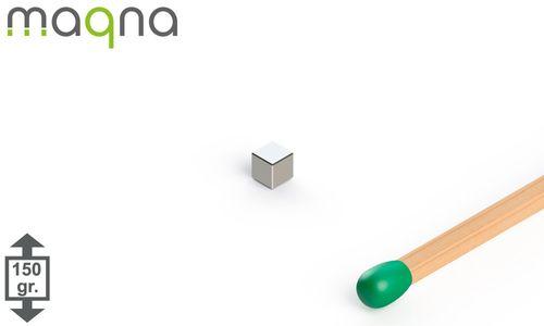 Neodym Würfelmagnet, 2x2x2mm, vernickelt, Grade N52 - Produktfoto