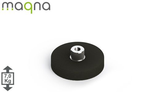 gummiertes Magnetsystem, D=31mm, H=6mm, Buchse und M4 Innengewinde  - Produktfoto
