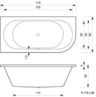 Badewanne 170 x 80 x 50 cm  Petra Rechts / Links T & R Design – Bild 6