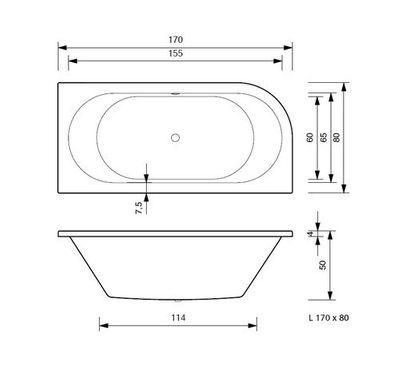 Badewanne 170 x 80 x 50 cm  Petra Rechts / Links T & R Design – Bild 7