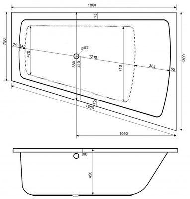Raumsparwanne Badewanne Galatea Coast 180 x 130 x 45 cm Rechts / Links CT180-130U – Bild 3