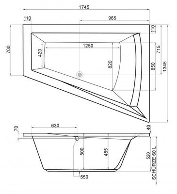 Raumspar Badewanne Galia II 175 x 135 x 52 cm Rechts / Links inkl. Wannenträger – Bild 7