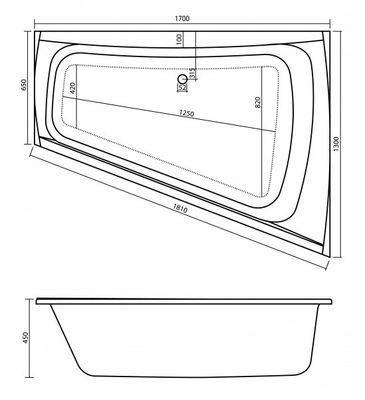 Badewanne Surf Raumspar 170 x 130 x 44,8 cm Überlauf Rechts / Links- SF170U – Bild 8