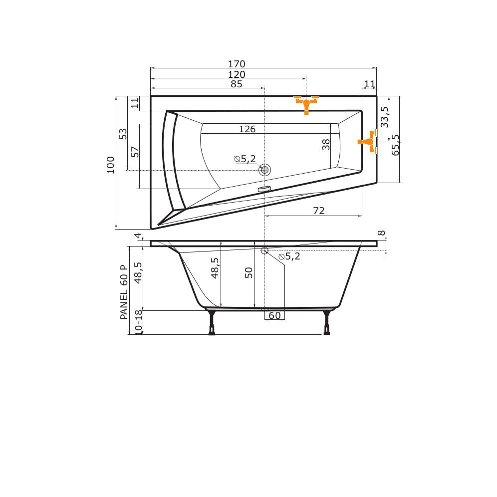 raumspar badewanne galia i nera stina 170 x 100 x 50 cm links. Black Bedroom Furniture Sets. Home Design Ideas