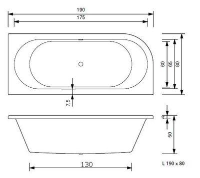 Badewanne Sun 170x80 / 180x80 VL / VR / V inkl. Schürze + Füße – Bild 13