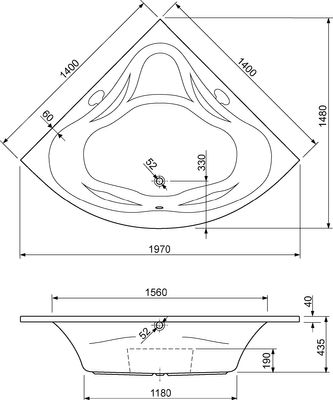 Eck-Badewanne Clea 140 x 140 x 43,5 cm – Bild 2