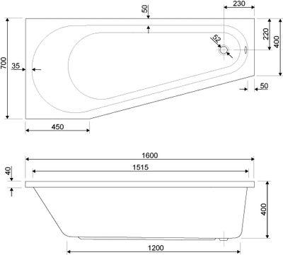 Raumspar Badewanne 160 x 70 x 40 cm Linnea L/R – Bild 4