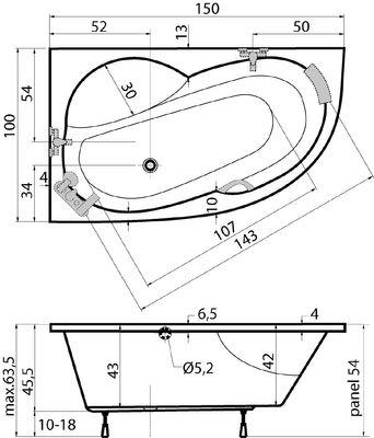 Raumspar Badewanne 150 x 100 x 45,5 cm Juma L/R – Bild 4