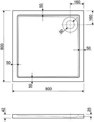 Duschwanne / Brausewanne 80 x 80 x 2,5 cm Quadrat DW 5 – Bild 2