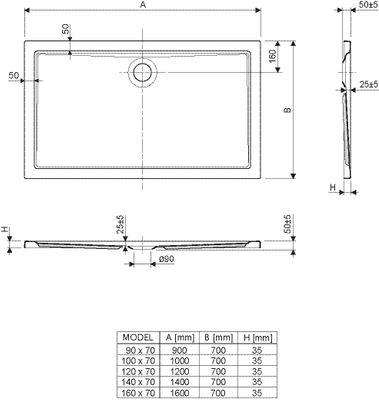 Duschwanne / Brausewanne 90 x 70 x 2,5 cm Rechteckig DW 30 – Bild 2