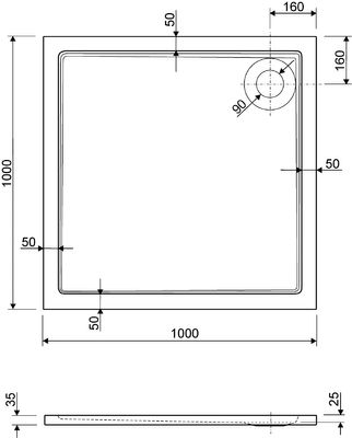 Duschwanne / Brausewanne 100 x 100 x 2,5 cm Quadrat DW 7 – Bild 2