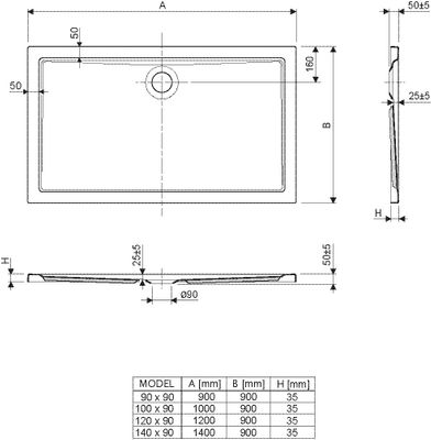 Duschwanne / Brausewanne 120 x 90 x 2,5 cm Rechteckig DW 9 – Bild 2