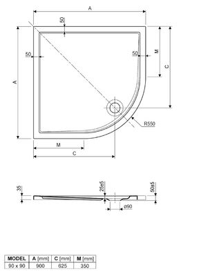 Duschwanne / Brausewanne 90 x 90 x 2,5 cm Viertelkreis Radius 550 RD 65 – Bild 2