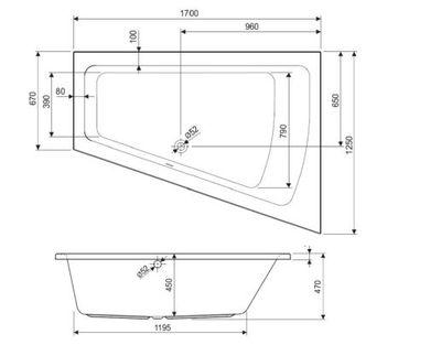 Raumsparwanne Badewanne 170 x 125 x 45 Clara Rechts / Links – Bild 4