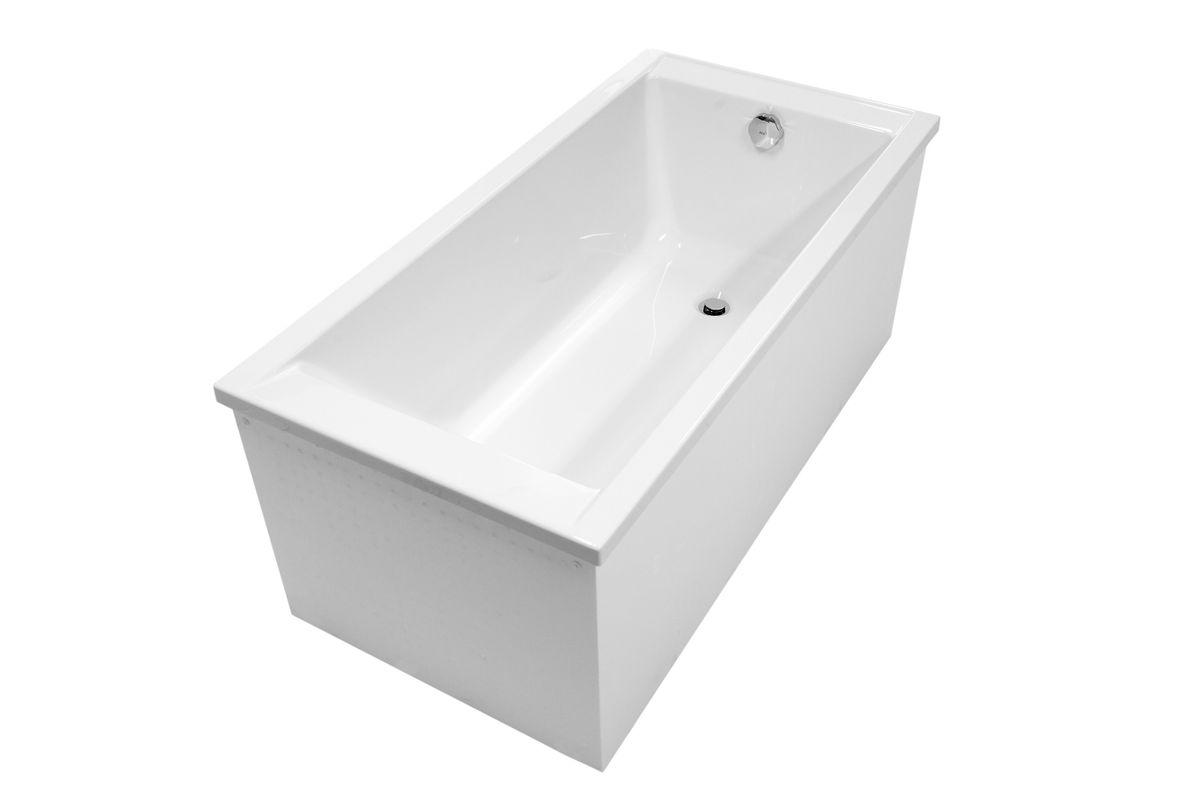 Komplettset Rechteck Badewanne Nika 160 x 70 mit Wannenträger und Viega Ab & Überlaufgarnitur