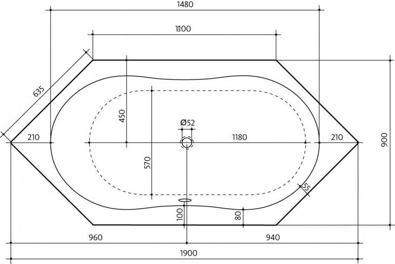 Badewanne maße  6-eck Badewanne Sun 190 x 90 x 46 R oder L - S115