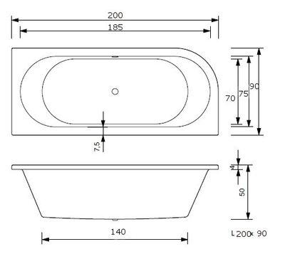 Whirlpool Delux Badewanne Petra L in 5 Größen – Bild 6