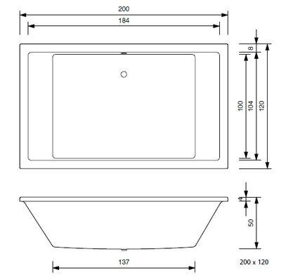 Whirlpool Delux 200 x 120 x 50 cm Badewanne 2 Personen Mona – Bild 4