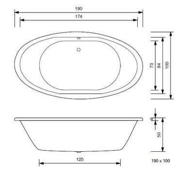 Whirlpool Airpool Air Plus / Air Lux Badewanne Aura oval 190 x 100 – Bild 4
