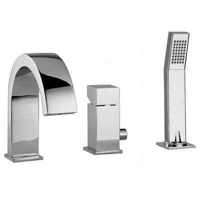 T&R Design Quadrato 3-Loch Einhebelmischer für Badewannen, verchromt – Bild 1