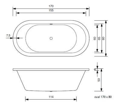 Badewanne Oval 170 x 80 x 50 cm Pia T&R Design – Bild 2