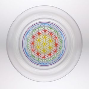Mythos Happy mit Blume des Lebens Bunt - Natures Design Glas