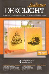6er-Set Lichttüten 3x Buddha 3x Stein mit Blüte (16x11x9cm) – Bild 1