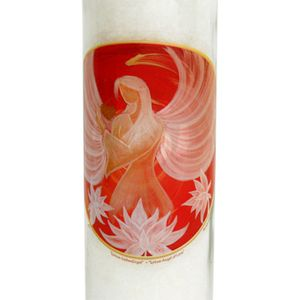 Kerze - Lotus Liebesengel im großen Glas - Weiß - mit Duft Höhe ca. 21 cm – Bild 2