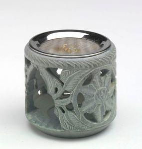 Räuchergefäß aus grauem Speckstein inkl. Sieb - Sonnenblüte