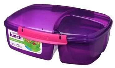 Sistema Lunch Triple Split Lunchbox mit Joghurttopf 2 Liter Lila /  Pink 24.5 x 20 x 9.19cm 40920-0