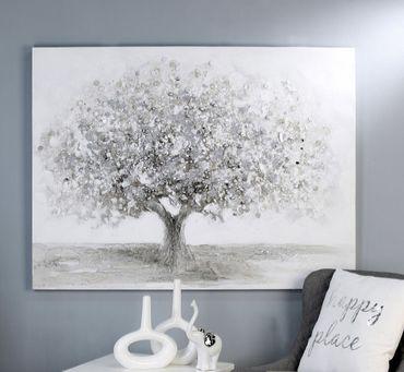 Casablanca Ölbild Big Tree weiss/grau/silber 120x90cm 31978