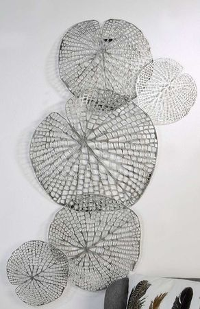 "Casablanca Wanddeko""Leafs""ant.silber,Metall  47x97cm 74560"