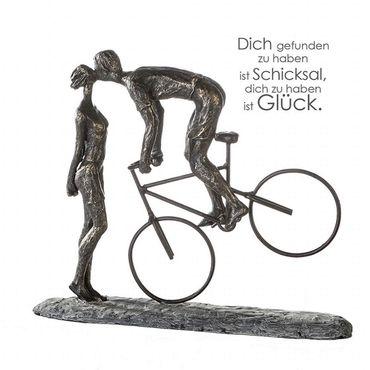 "Casablanca Skulptur ""Kiss Me"" Poly bronzefarbene Figur Basis dunkelgrau 79621"