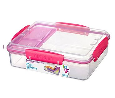Sistema Lunch Snack Attack Duo 'to go' - 975 ml transparent/pink 3er Set 21482-3 x 3