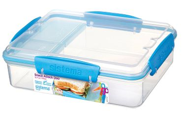 Sistema Lunch Snack Attack Duo 'to go' - 975 ml transparent/blau 3er Set 21482-2 x 3