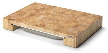 Continenta Profi Tranchierbrett, Edel-Schneidebrett aus Gummibaum Stirnholz Würfeln einzeln verleimt, mit Edelstahl Schublade, Größe: 48 x 32,5 x 6 cm 4027 - Prime D