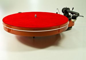 Pad Mat Six Red Leather Turntable Platter  001
