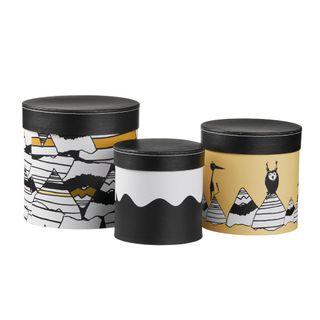 Kids Concept 310563 Pappboxen rund 3-set schwarz/ weiß/ gelb