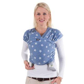 HOPPEDIZ elastisches Tragetuch Blaumit Stern für Früh- und Neugeborene, 5,40m x 0,50m