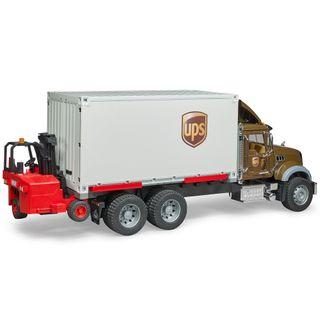 Bruder MACK Granite UPS Logistik-LKW mit Mitnahmestapler – Bild 3