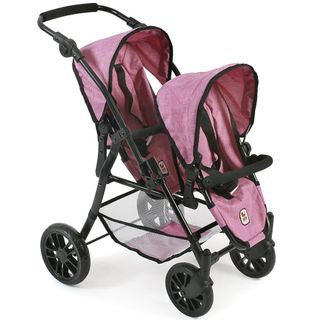 Bayer Chic  Puppen Buggy 691 70 Tandem Buggy Twinny Jeans Pink