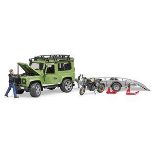 Bruder Land Rover Defender Station Wagon mit Anhänger, Ducati Scrambler Cafe Racer und Fahrer – Bild 3